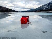 Ice fishing in style, Bull Lake, Montana